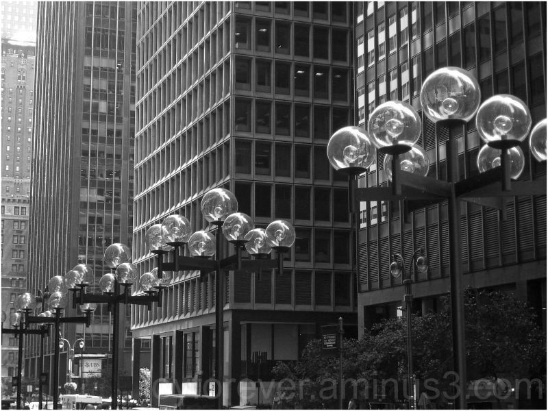 manhattan new york city lamp bubble black white