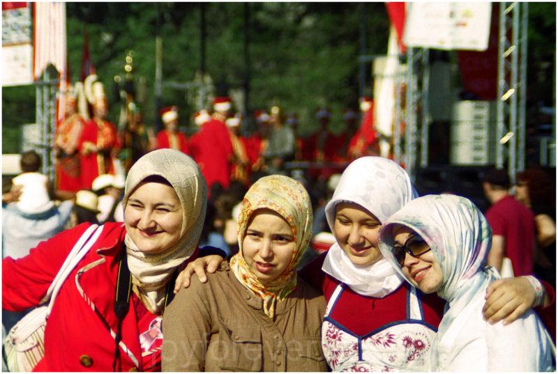 turkish girls candid group portrait
