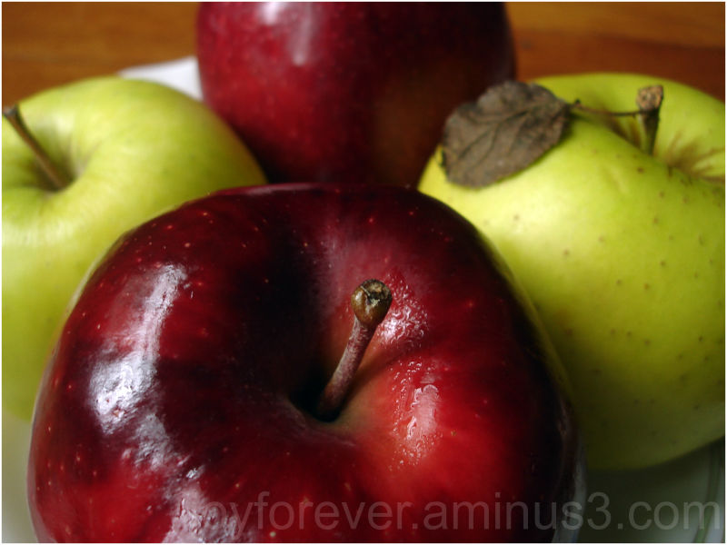 apple fruit macro close-up red green food