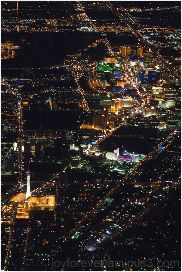 Las-Vegas aerial night Strip Nevada Airplane