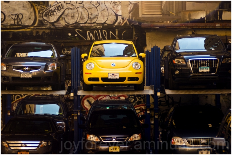 cars yellow parking multi-level volkswagen beetle