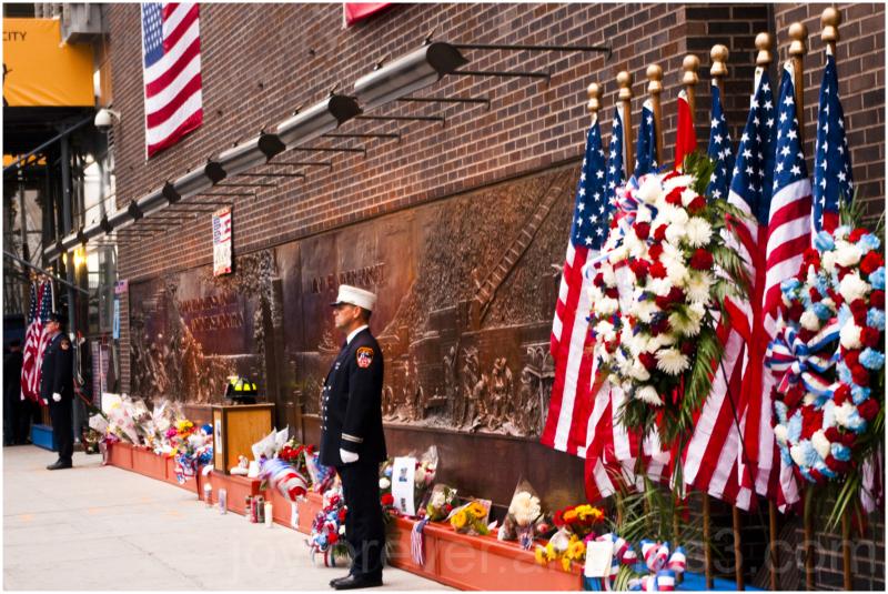 9/11 fire-service ground-zero WTC tribute flowers