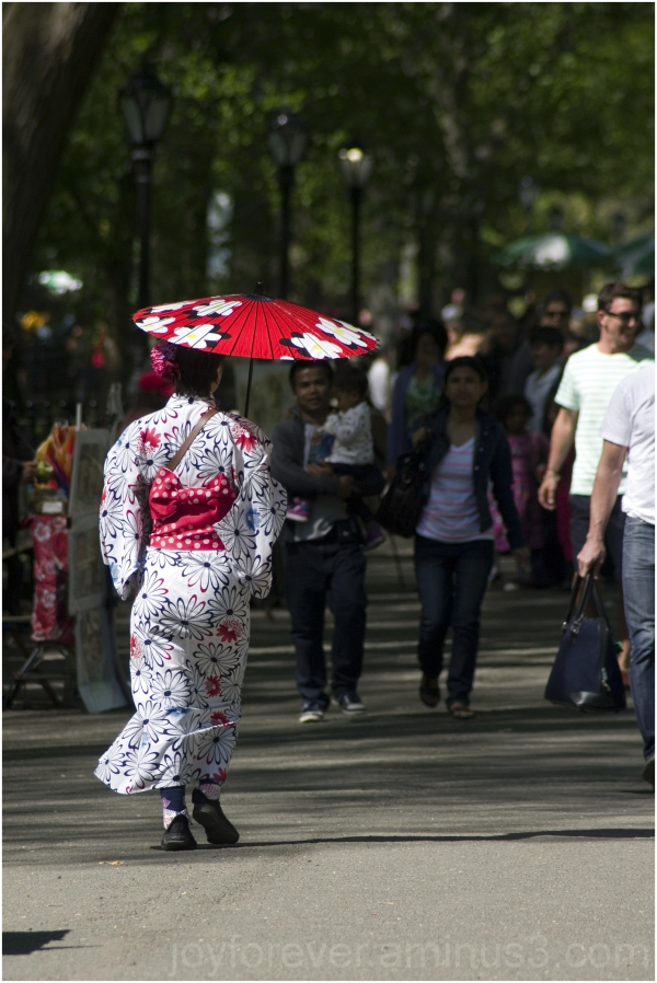 woman lady japan japanese kimono umbrella red NYC