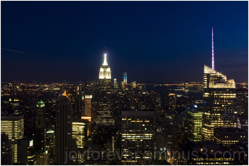 Manhattan skyline night lights Top-of-the-rock sky