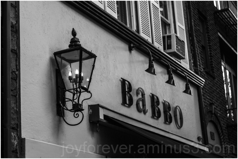 Babbo store street light NYC Black-and-White