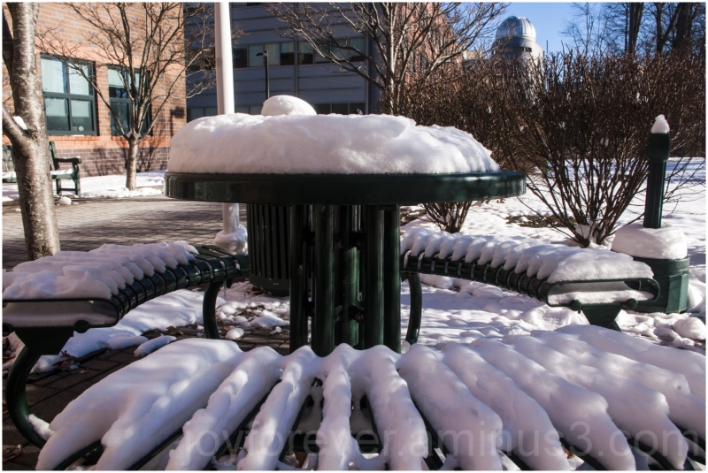 snow bench winter GMU George-Mason University VA