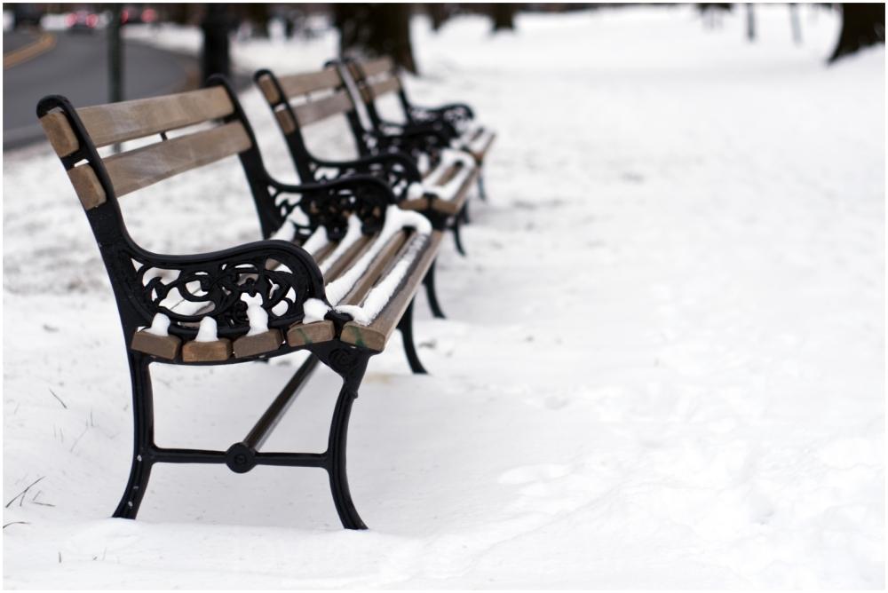 snow bench winter Newark NJ