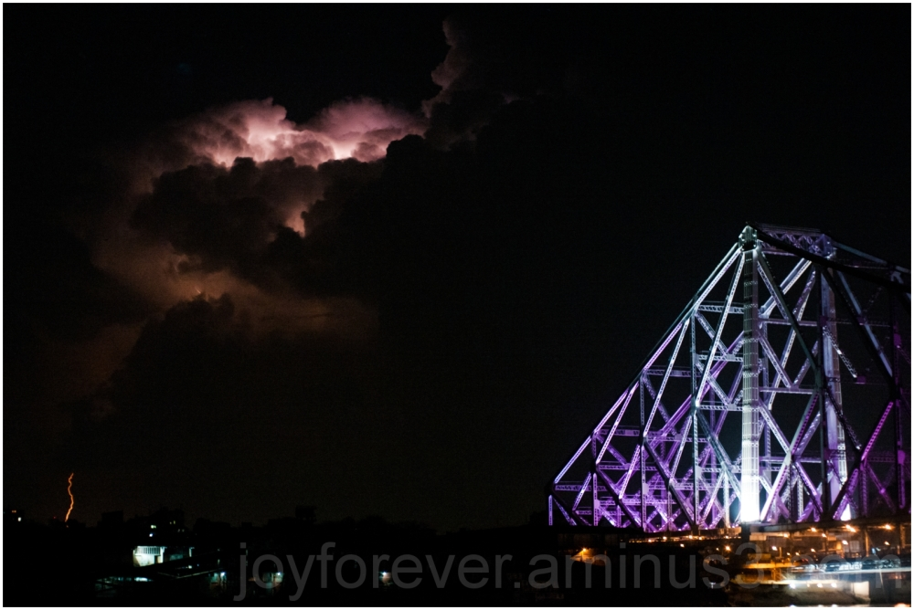 river bridge cloud lightning Kolkata Howrah Ganga