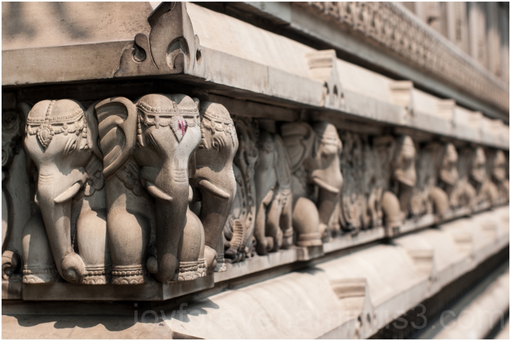 Birla temple Kolkata sculpture elephant wall India