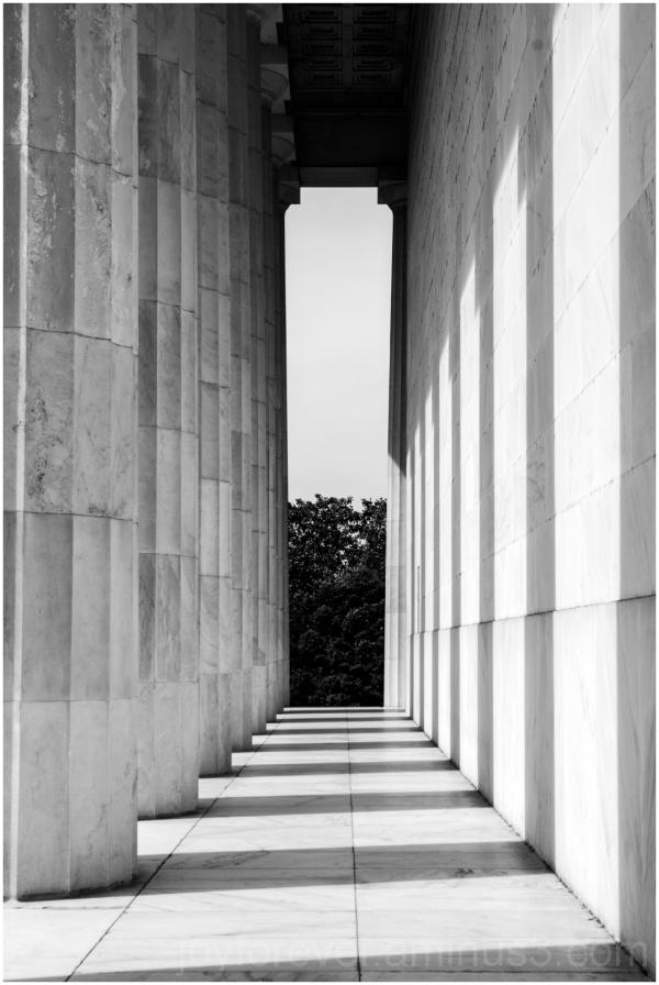 Sunlight shadows Lincoln Memorial Washington DC BW