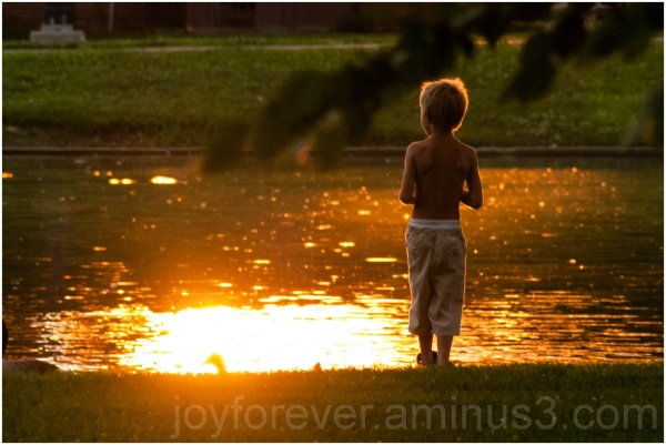 pond lake water park sunset boy child Columbus OH