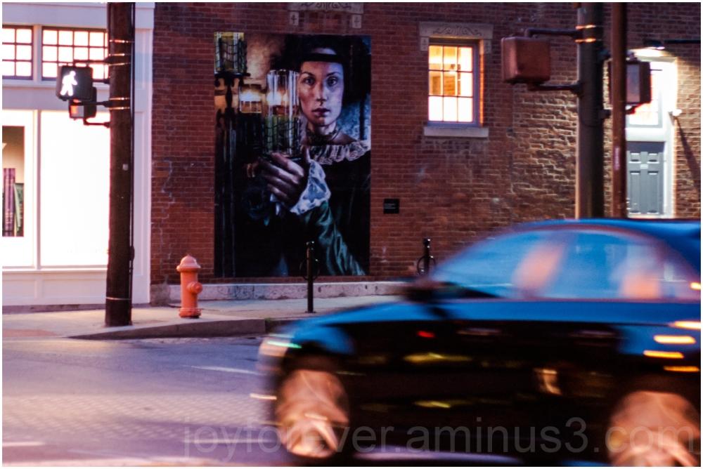 Columbus Ohio street night mural art car wall lady
