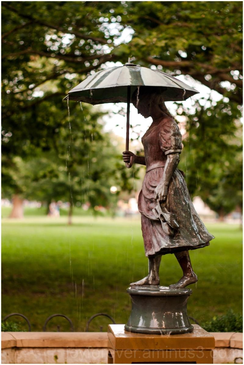 umbrella girl statue sculpture fountain Columbus