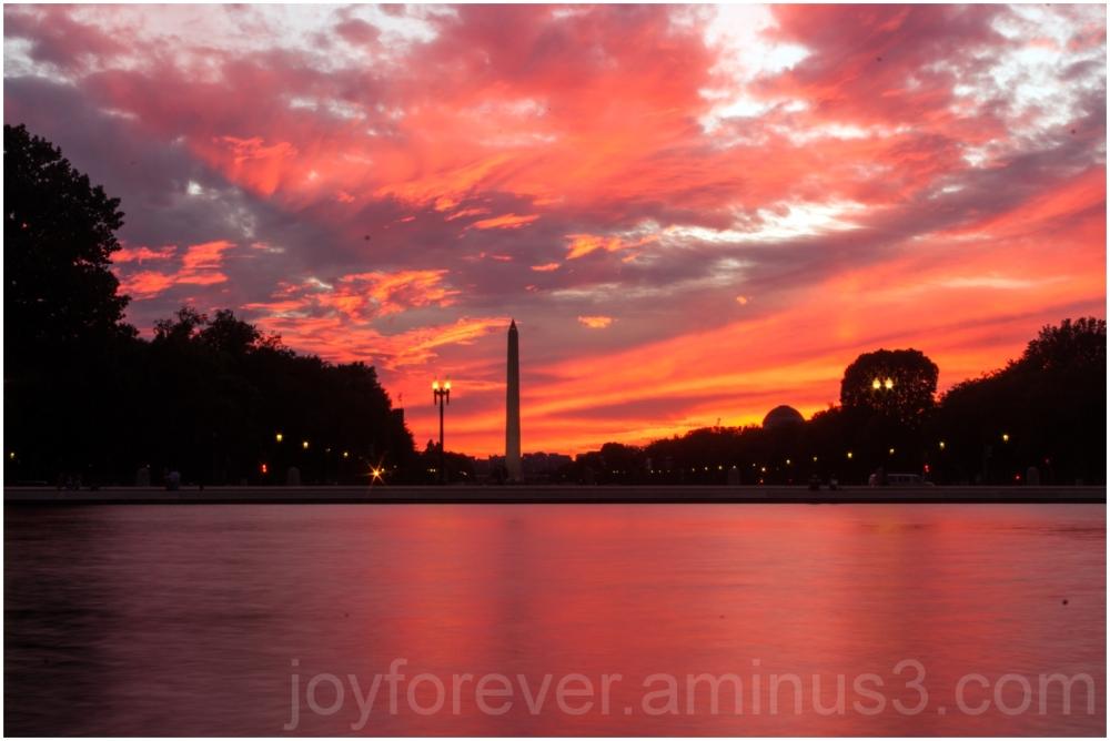 Washington DC Monument sunset pool duck slow