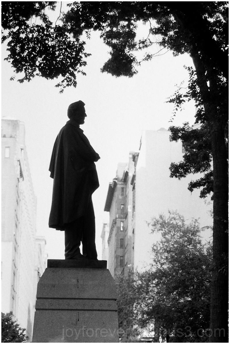 Lincoln statue sculpture silhouette B&W film NYC