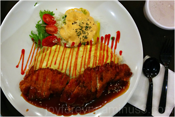Korean food Omelette Chicken cutlet salad dish NYC