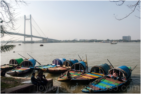 bridge boat Kolkata India Ganga river Hooghly