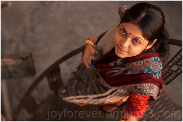 Poulami woman Kolkata India stairs above portrait