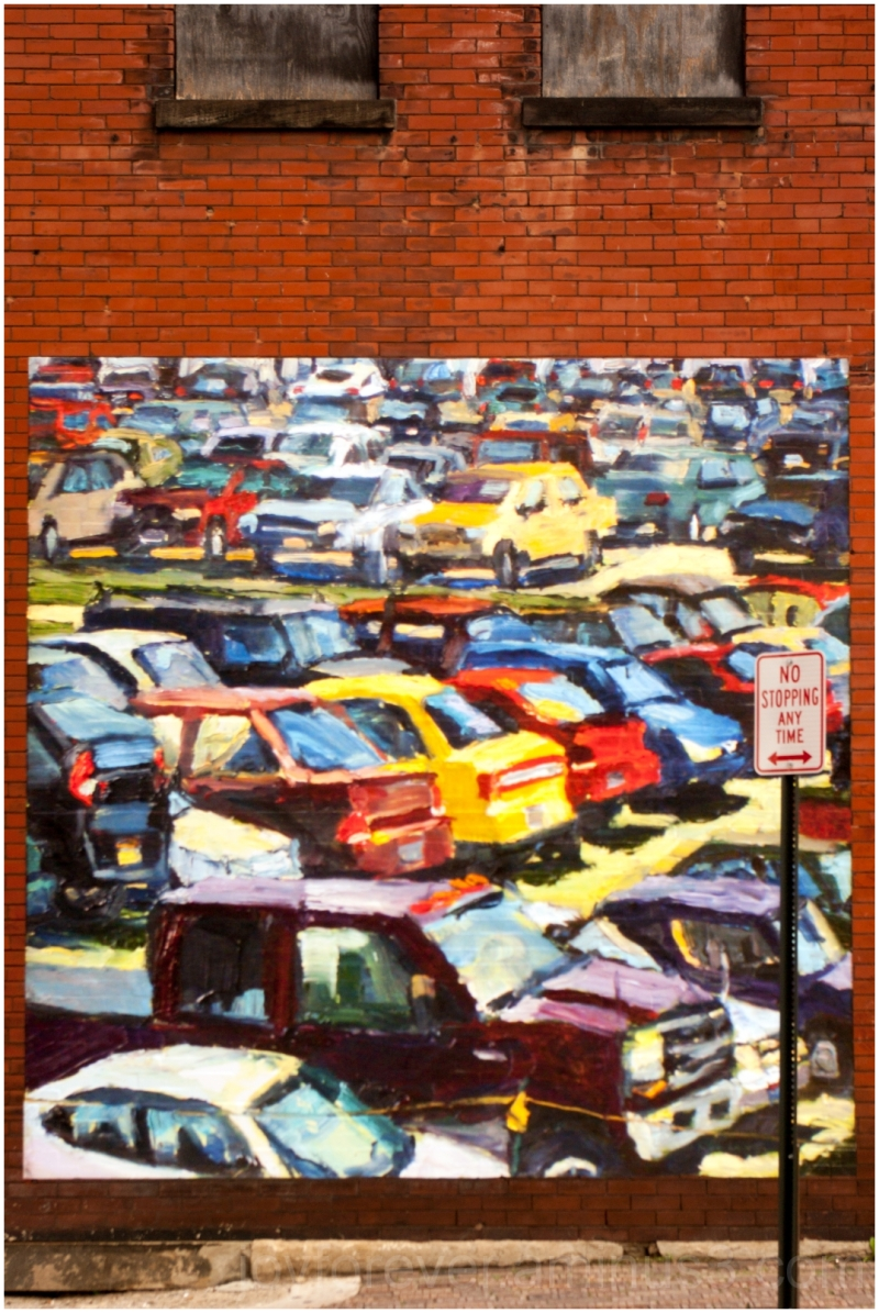 mural street art Columbus Ohio car wall brick sign