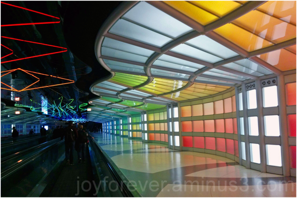 Chicago O'Hare airport concourse lights colours