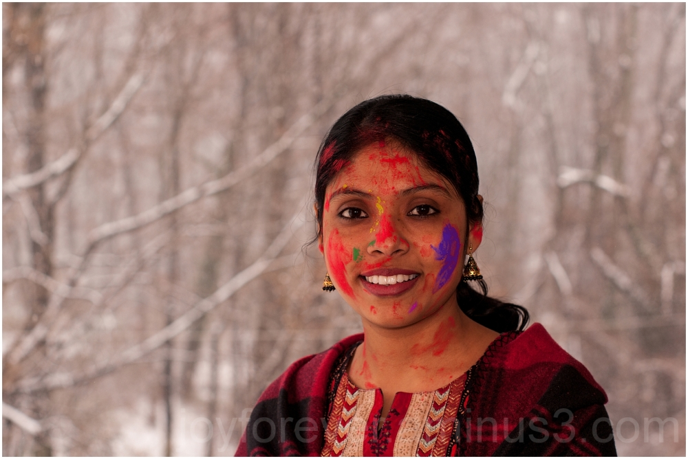 Holi colours colors woman India festival snow