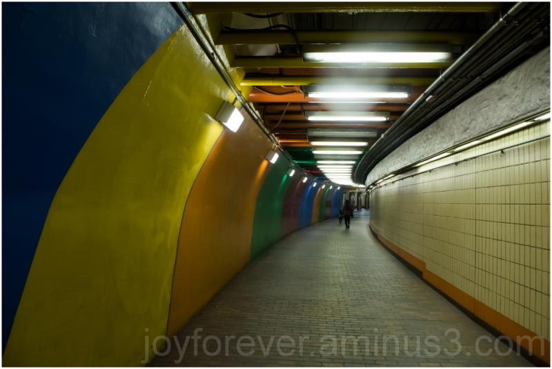 Tunnel colorful corridor Boston metro