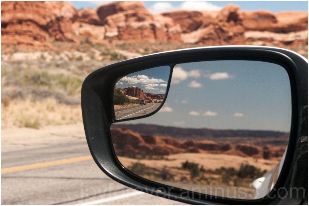car mirror road reflection Arches National Park UT