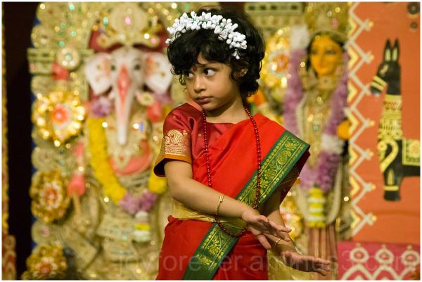 Dancer Indian Hindu festival Durga girl
