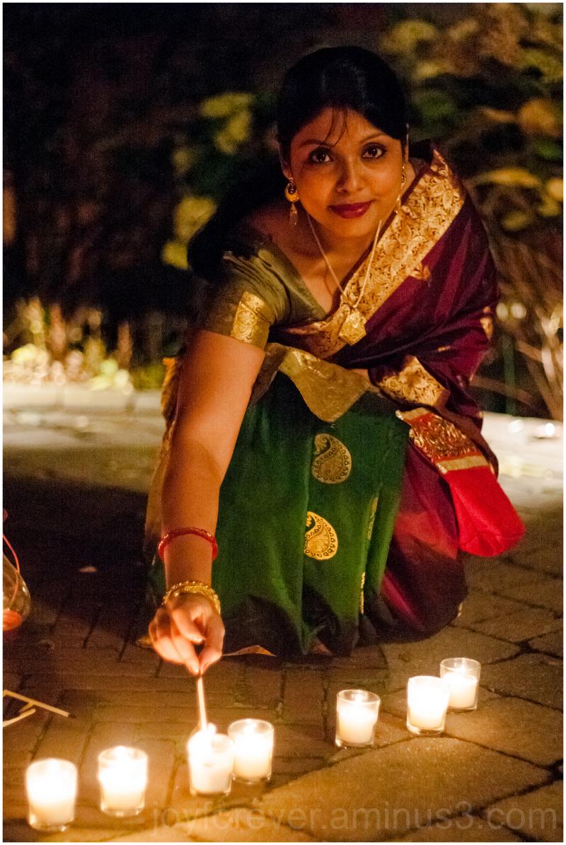 Woman festival Diwali Indian candle lamp wife sari