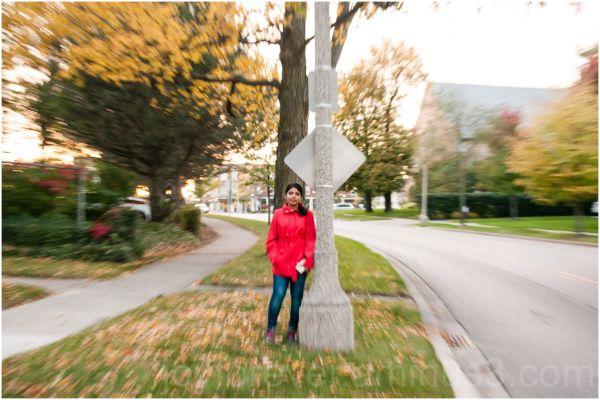 fall foliage woman wife zoom blur