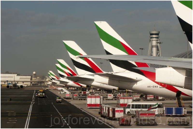 airplanes tails airport UAE Dubai Emirates