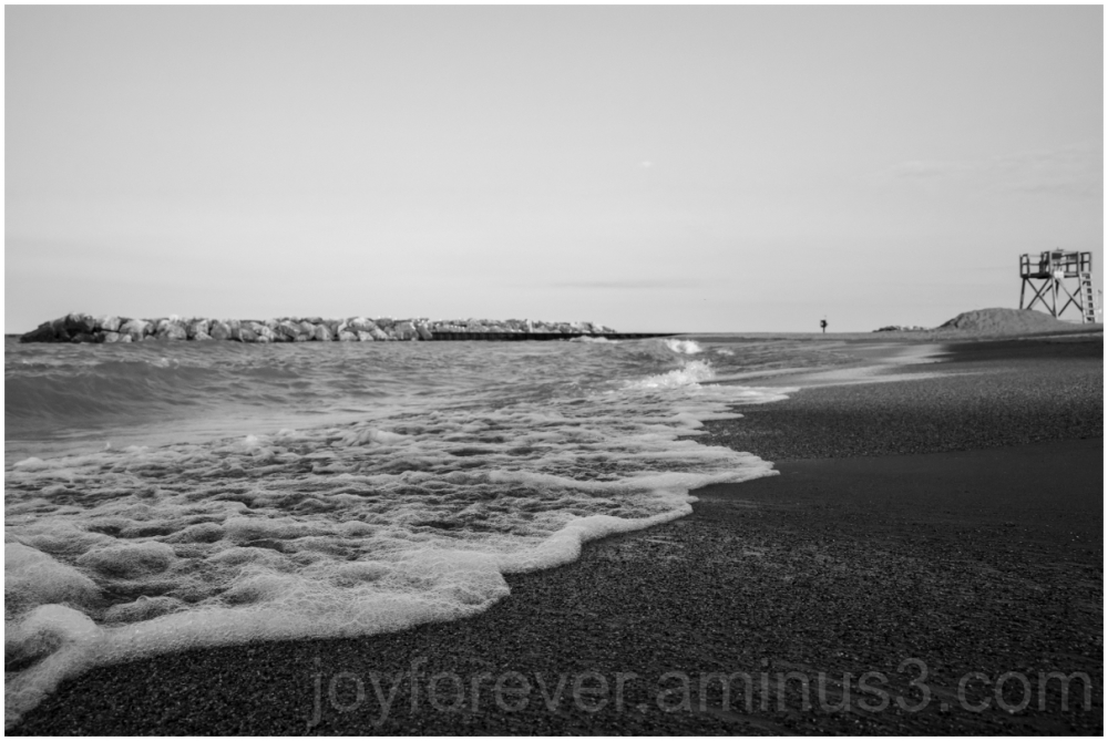 beach wave sand lake Michigan gravel black&white