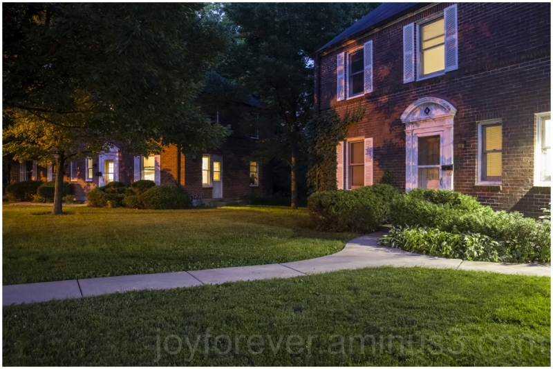 night lawn house home