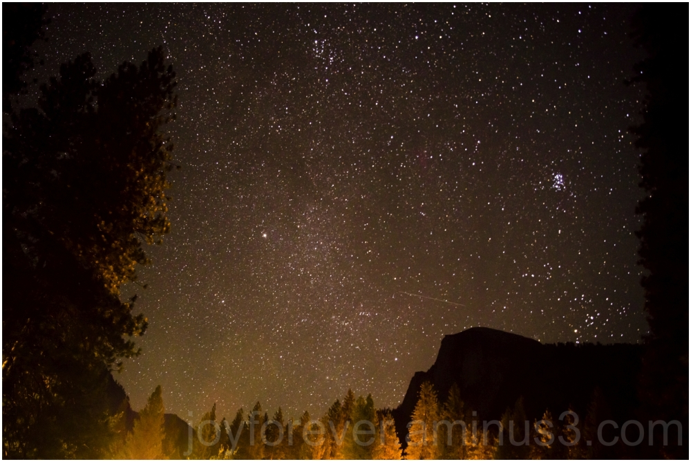 sky night halfDome Yosemite milky-way Meteor