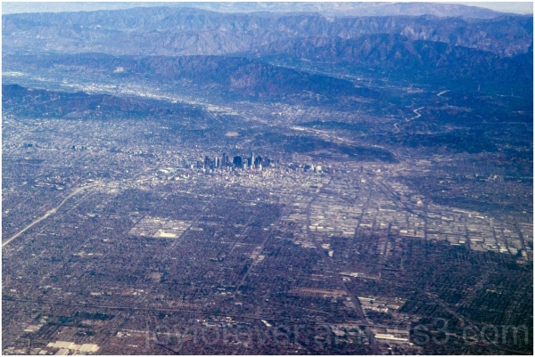 LosAngeles city skyline california aerial airplane