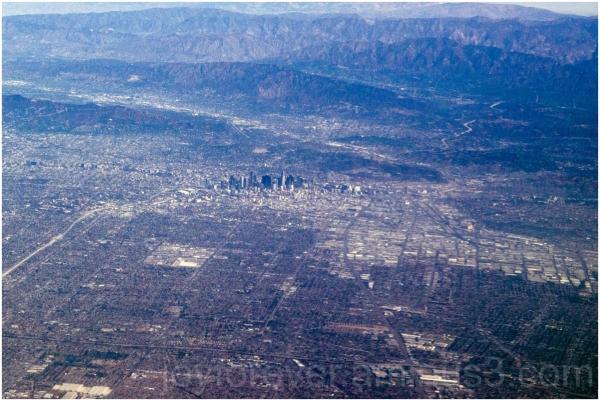 LosAngeles city skyline california aerial airplane