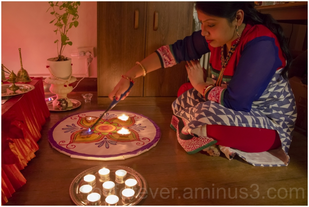 Hindu Indian festival Diwali lamps woman