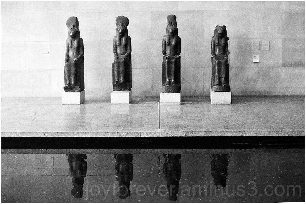 Egyptian statue guards black&white film ilford B&W