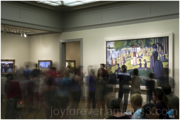 museum crowd painting Seurat Pointillism Chicago