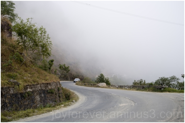 clouds Meghalaya India road car fog mountains hill