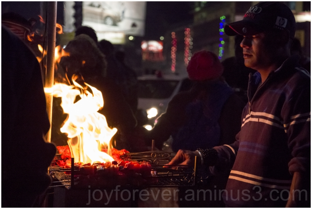 Shillong Meghalaya India street food night fire