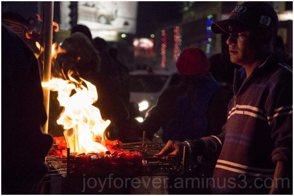 Shillong Meghalaya India street food night fire