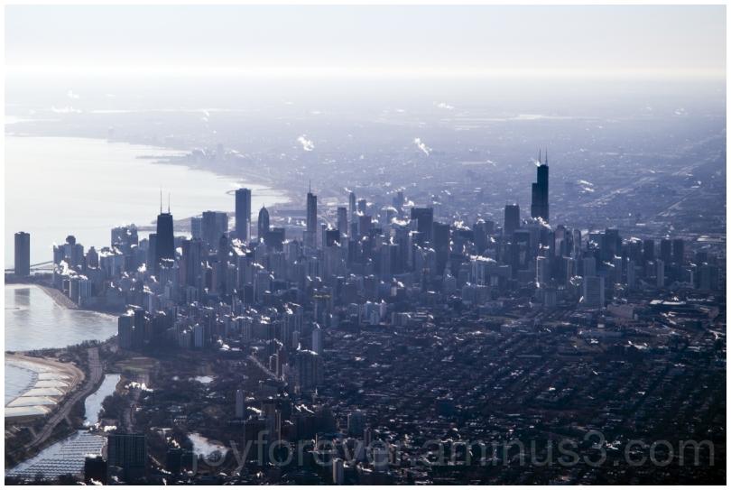 Chicago Skyline aerial airplane winter skyscrapers