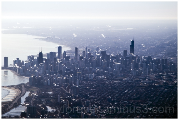 Chicago Skyline aerial airplane winter skyscrapers