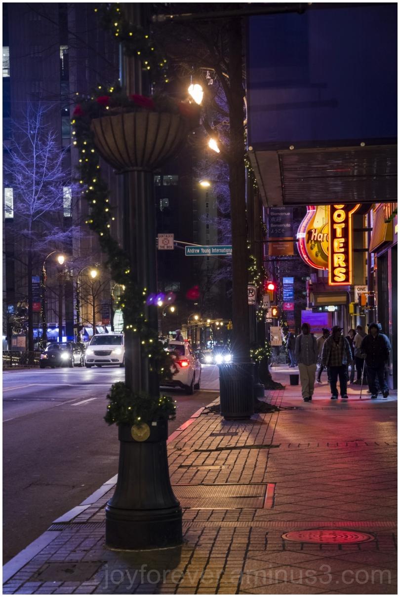 Atlanta Georgia winter street night lights USA