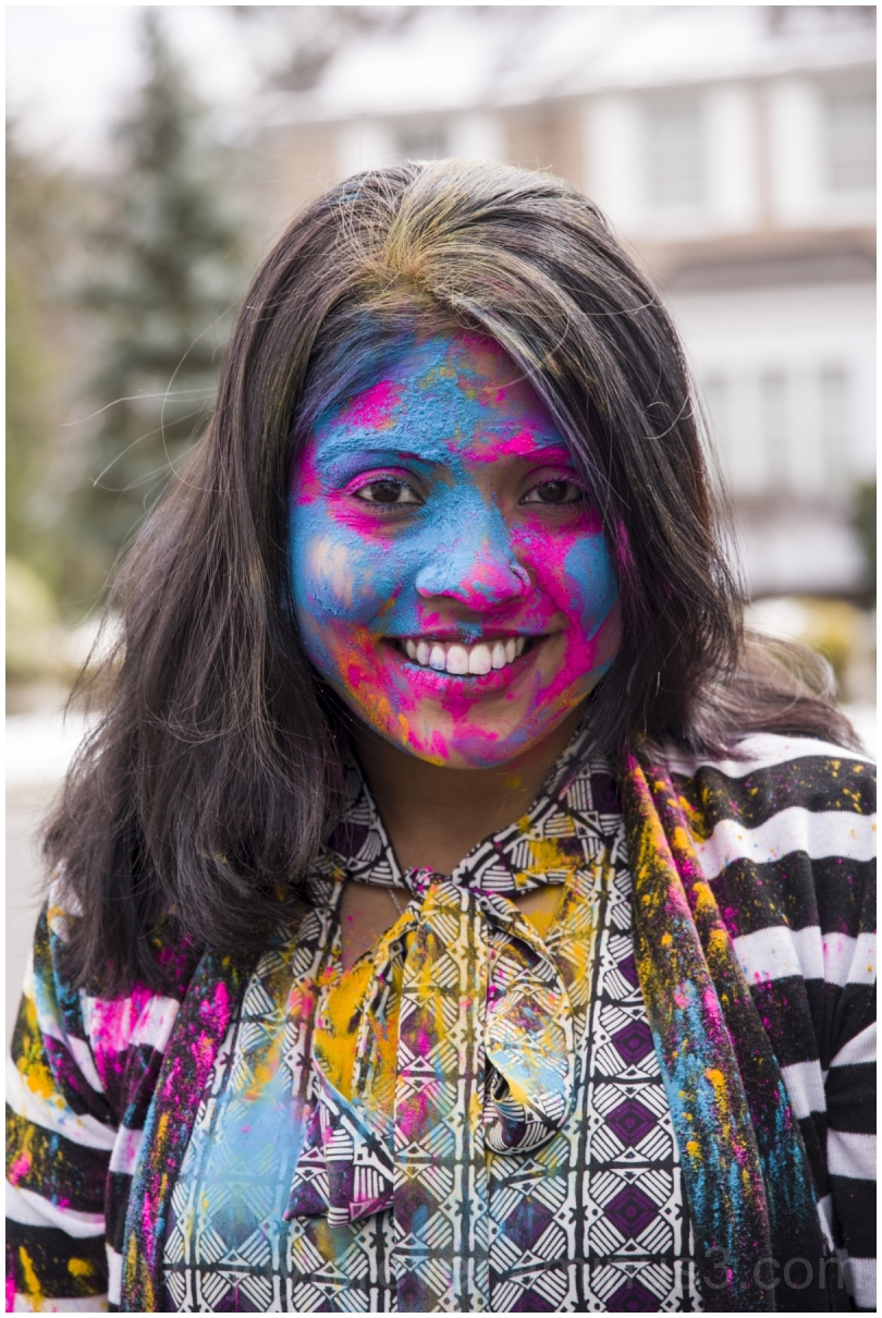 Holi festival colors Indian Hindu woman celebrate