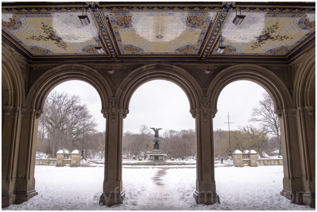 CentralPark Bethesda terrace fountain snow arches