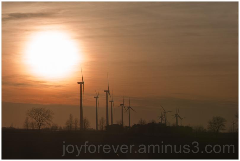 windmill sun sunset silhouette Indiana windfarm