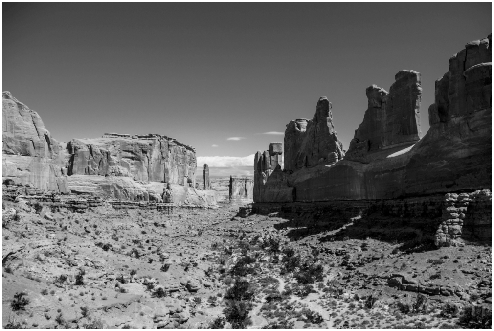 ArchesNationalPark Utah Cliffs RockFormations B&W