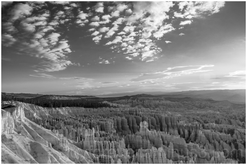 BryceCanyon Utah Cliffs RockFormations B&W clouds